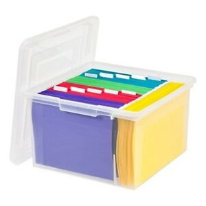 File Box Storage Organizer Letter Legal Documents Home Office Plastic Holder New
