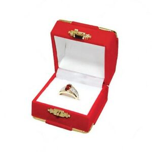 12 Red Velvet Brass Accent Ring Jewelry Display Presentation Gift Boxes