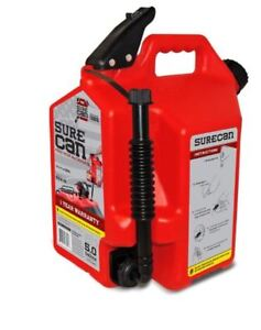 Surecan 5 gallon Plastic Gas Can Fuel Gasoline Spout Tank Child proof Nozzle New