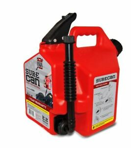 Surecan 2 2 gallon Plastic Gas Can Fuel Gasoline Spout Tank Child proof Nozzle