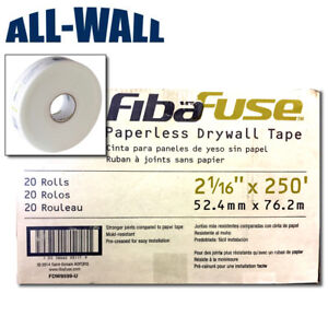 Fibafuse Paperless Drywall Joint Tape 250 ft X 2 case Of 20 Rolls