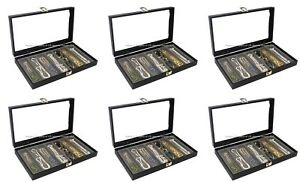 Wholesale Lot Of 6 Glass Top Lid Grey 7 Slot Collectors Jewelry Display Cases