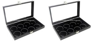 Lot Of 2 Glass Top Lid Black 8 Space Jewelry Collectibles Display Cases