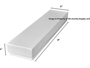 100 White Swirl Cotton Filled Jewelry Display Packaging Gift Boxes 8 X 2 X 1