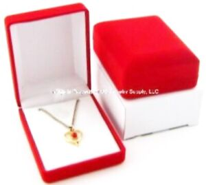 Lot Of 72 Red Velvet Pendant Chain Jewelry Display Packaging Gift Boxes