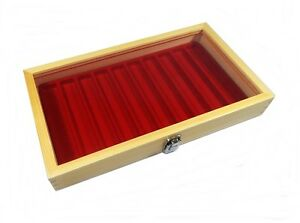 Natural Wood Glass Top Lid Red 10 Slot Jewelry Pen Pocket Knife Display Case