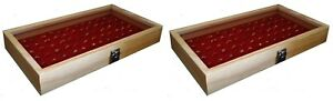 2 Natural Wood Glass Top Lid Red 72 Ring Jewelry Display Storage Box Cases