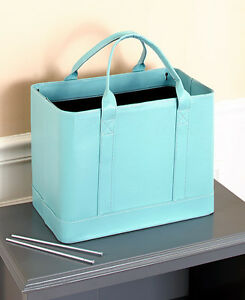 Blue Chic File Organizer Tote Portable Document Folder Carrier Faux Leather