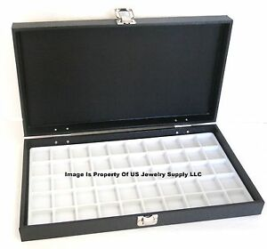 Grained Leatherette Wood Solid Top Lid White 50 Space Jewelry Display Case Box