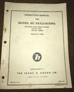 Hough Uh Payloader Loader Operation Operators Manual 14b 1364 International Ih
