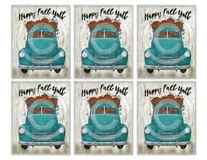 Primitive Pantry Jar Candle Labels 3x4 Happy Fall Yall Blue Truck Pumpkin Autumn