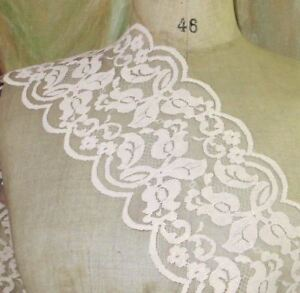 5 Vtg French Nude Peach Lace Flower Tulle Scallop Doll Dress Trim Schiffli Tape
