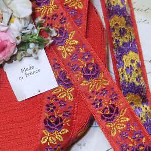 1y Vtg 3 4 French Jacquard Ribbon Coral Red Purple Ombre Rose Flower Trim Vtg