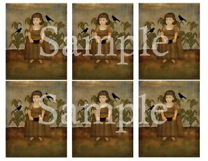 Primitive Pantry Jar Candle Labels 3x4 Autumn Fall Colonial Girl Corn Field