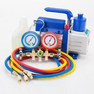 R134a R12 R22 A c Manifold Gauge Set 5ft Colored Hose 1 4 Hp 3cfm Vacuum Pump