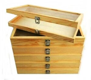 6 Natural Wood Glass Top Lid Keepsake Hobby Jewelry Display Storage Box Cases
