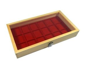 Natural Wood Glass Top Lid Red 18 Space Pocket Watch Display Case
