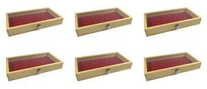 6 Natural Wood Glass Top Lid Red 50 Space Ring Charm Coin Jewelry Display Cases