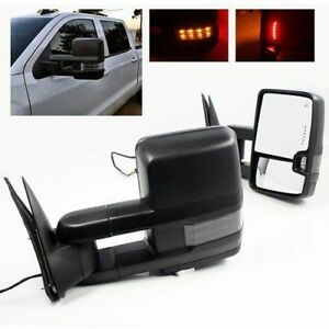 Pair For 07 13 Silverado Sierra Towing Mirrors Power Heated Turn Signals Black