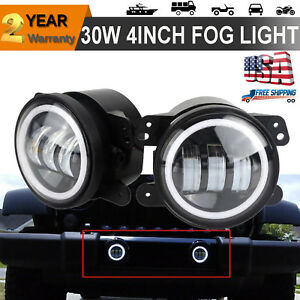 Pair Halo Angel Eye Led 4 Inch Fog Light Lamps For 2007 2016 Jeep Wrangler Jk