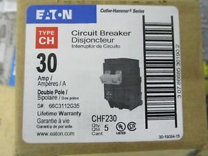 Cutler Hammer Chf230 30 Amp 2 Pole 240 Volt box Of 5 Circuit Breakers New