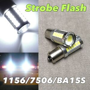 4x Strobe Flash White 1156 P21w 7506 1141 33 Smd Led Bulb Reverse Backup Light