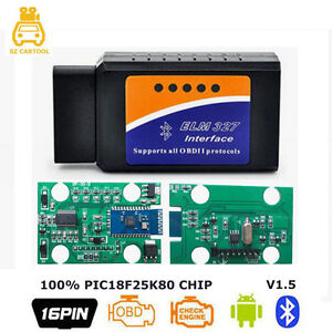 Elm327 V1 5 Bluetooth Pic18f25k80 Obd2 Bluetooth Adapter Car Scanner For Android