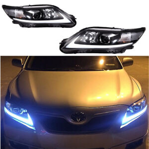 Pair Led Black Headlight For Toyota Camry 2010 2011 Front Lamps Drl Set Black