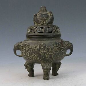 Chinese Bronze Handwork Carved Three Foot Tripod Incense Burner Buddha Lid