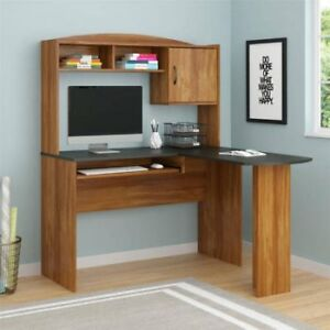Corner Computer Desk With Hutch L Shaped Home Office Wood Desks Alder