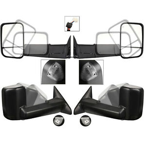 New Set Of 2 Power Heated Smoke Signal Towing Mirrors For Dodge Ram 09 12 Pair
