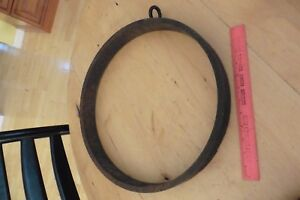 Vintage Bell Gong Circle Hoop 16 Antique Cast Wrought Iron 13lb Farm Dinner