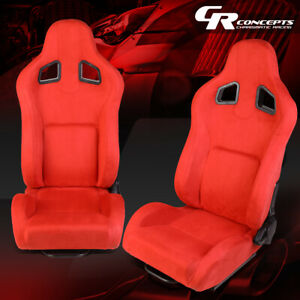 Pair Red Color Fully Adjustable Suede Sport Spec Bucket Racing Seats W Slider