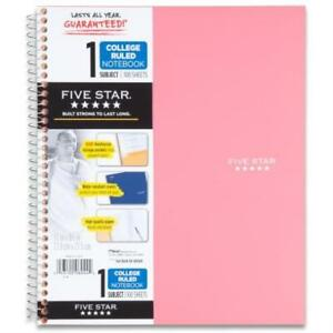 Mead Five Star Wirebound 1 subject Notebook 100 Sheets College Rule pink Strong