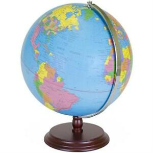 World Globe 12 Desktop Atlas With Antique Stand Earth With Political Maps Blu