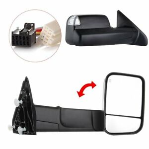 Black Pair Power Heated Towing Mirrors For 2009 15 Ram 1500 Pickup Signal Light