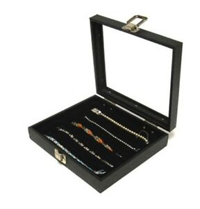 1 Glass Top Lid 5 Slot Black Jewelry Collectibles Display Case Pens Lures