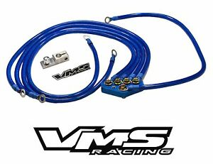 Blue Vms Racing Universal 5 point 10mm Ground Wire System Kit For Subaru Vehicle
