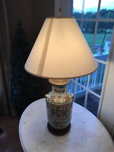 Antique Chinese Canton Famille Rose Porcelain Vase Lamp