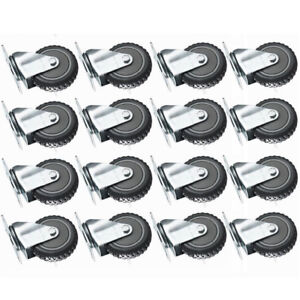 16 Pack 3 inch Rubber Wheel Swivel Plate Casters With Steel Top Plate