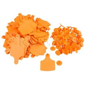 Plastic Livestock 10x7 3cm Ear Tag For Sheep Pig Cow Set Of 100 Orange