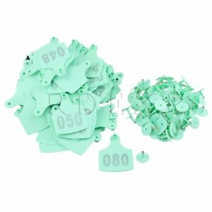 100x Sheep Pig Cow 1 100 Number 10x7 3cm Livestock Lagre Ear Tag Green