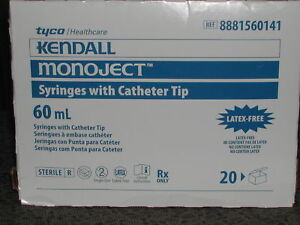 60cc 60ml Kendall Monoject Cath Tip Plastic Disposable Syringes 20ct Box