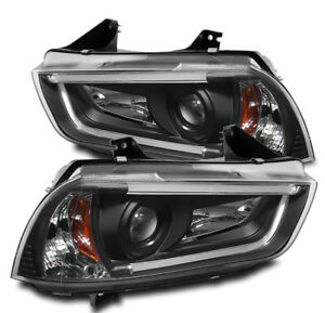 2011 2014 Dodge Charger Led Drl Bar Strip Projector Head Lights Lamps Black Pair