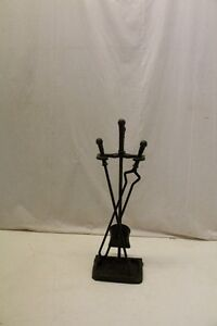 Antique Arts Crafts Style Cast Iron Fireplace Tools By Peerless