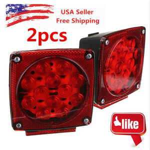 New 12v Led Trailer Tail Light Kit Brake Turn Signal Utility Rv S Boat Truck Hm