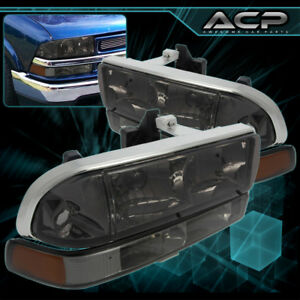98 04 Chevy S10 Blazer Pickup Smoke Lens Amber Headlights Bumper Lamps Pair