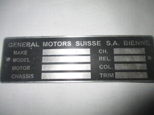 Nameplate General Motors Suisse Ch Vauxhall Chevy Sign Plaque You Gm S33 Black