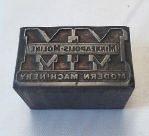 Minneapolis Moline Modern Machinery Antique Letterpress Wood Print Block Tractor