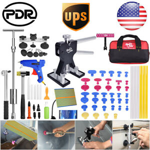 Us 65pc Us Paintless Dent Repair Pdr Dent Lifter Puller Slide Hammer T Bar Tools